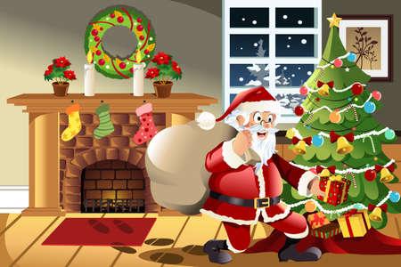 Een vector illustratie van de kerstman met een tas van de kerstcadeautjes te laten vallen een cadeautje onder de kerstboom