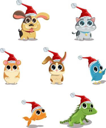 A vector illustration of cute animals wearing Santa hat