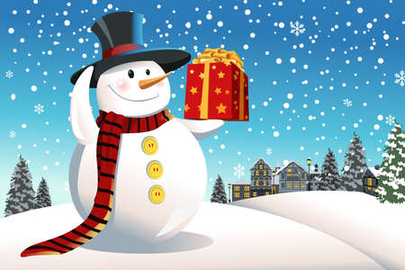 A vector illustration of a snowman holding a Christmas present Illustration
