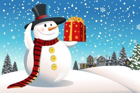bonhomme de neige: Une illustration de vecteur d'un bonhomme de neige tenant un cadeau de No�l Illustration