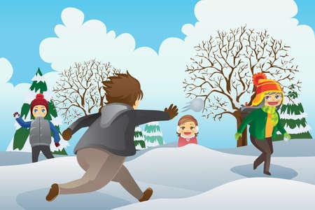 palle di neve: Una illustrazione vettoriale di bambini che giocano all'aperto palle di neve
