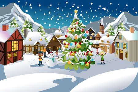 Een vectorillustratie van mensen genieten van de kerst-seizoen in een dorp met sneeuw helemaal over de plaats