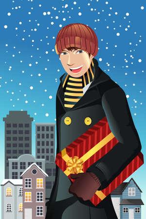 carrying box: Una ilustraci�n vectorial de un hombre de compras para Navidad Vectores