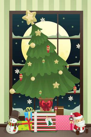 크리스마스와 크리스마스 트리의 벡터 일러스트 레이 션은 아래 선물
