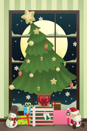 A vector illustration of a Christmas tree with Christmas presents under it