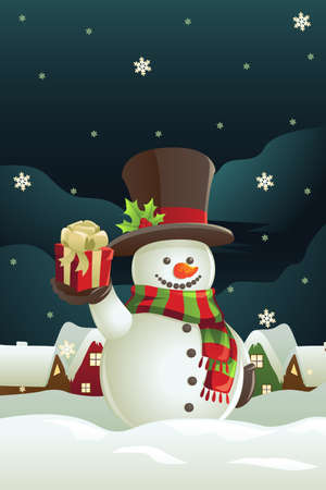frosty the snowman: A vector illustration of a snowman holding a Christmas present Illustration