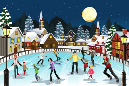 A vector illustration of people ice skating in an outdoor ice skating rink during the winter season