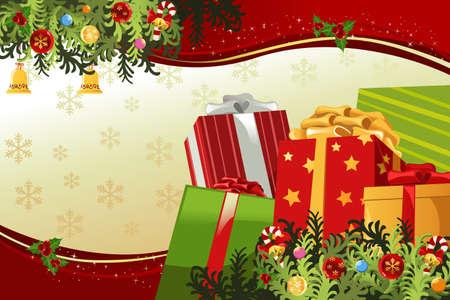 Una ilustración vectorial de una tarjeta de Navidad Foto de archivo - 10766778
