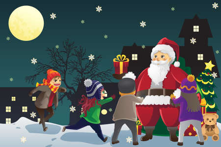 A vector illustration of Santa Claus giving out Christmas presents to kids