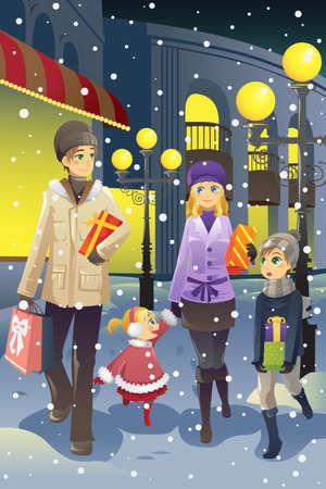 Een vectorillustratie van een familie winkelen samen tijdens het winterseizoen