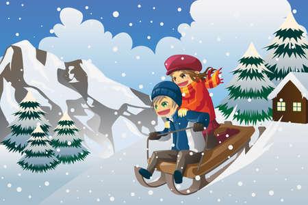 Een vector illustratie van kinderen sleeën de heuvel af in de sneeuw