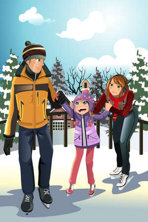 A vector illustration of a family playing ice skating outdoor during the winter season Vectores