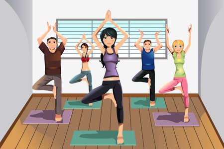 Een vector illustratie van yoga studenten beoefenen van yoga op een yoga-studio