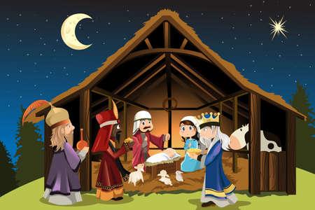vergezeld: Een vector illustratie van Kerstmis concept van de geboorte van Jezus Christus met Jozef en Maria samen met de drie wijze mannen