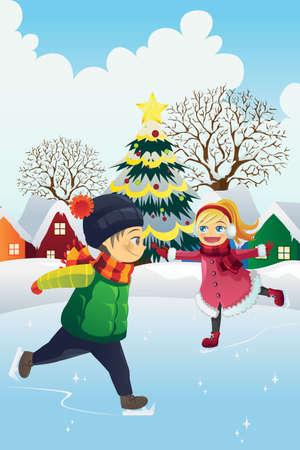 Een vector illustratie van spelende kinderen schaatsen buiten