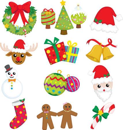 Een vector illustratie van een verzameling van pictogrammen van Kerstmis Stockfoto - 10766783