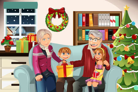 illustration of grandparents giving Christmas presents to their grandchildren 일러스트