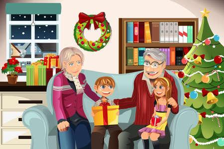 abuelos: Ilustración de abuelos dando Navidad presenta a sus nietos Vectores