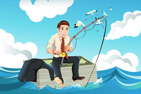 illustration of business finance concept with a businessman sitting on top of a stack of money fishing for money in the sea Ilustracja