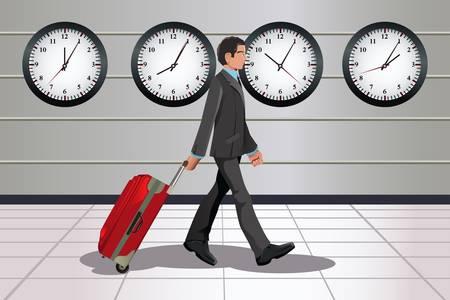 Una ilustración de un hombre de negocios que viajan tirando de un equipaje en el aeropuerto con los relojes que muestra el tiempo diferentes en el fondo