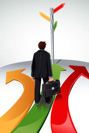 A illustration of a business concept, a businessman standing at a crossroads, with the sign posts pointing to multiple directions