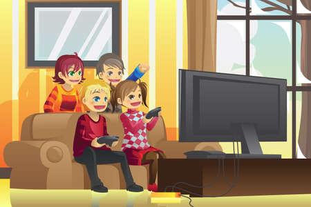 옥내의: 집에서 비디오 게임을 재생하는 아이의 그림 일러스트