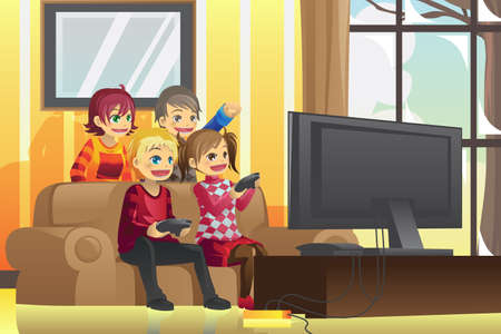 leisure games: illustration of kids playing video games at home