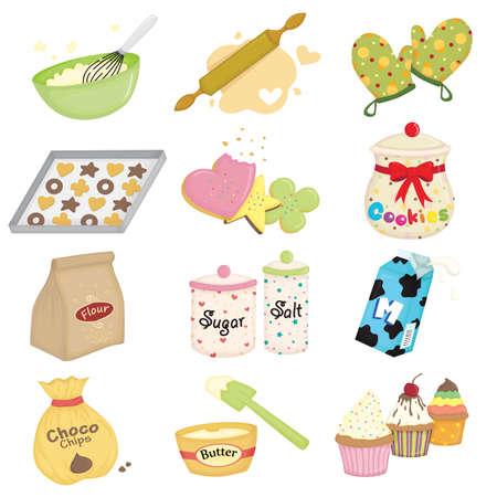 ilustración de hornear y utensilios de cocina iconos