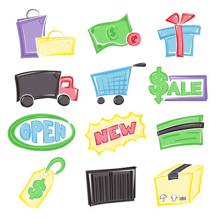 e commerce icon: A illustration of different icons for shopping theme