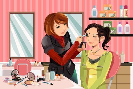 illustratie van een make-up artist werken aan een klant bij een schoonheidssalon Vector Illustratie