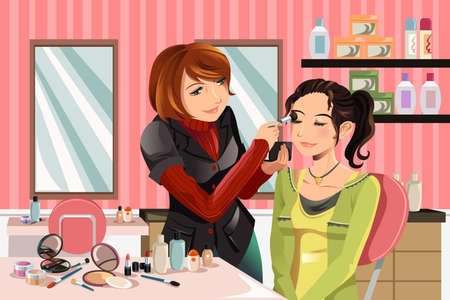 beauty make up: illustrazione di un makeup artist di lavoro su un client in un salone di bellezza