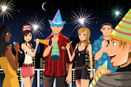 young people having New Year Stock Vector - 10905667