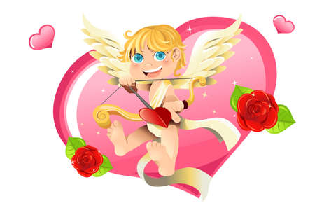 angel roses: illustration of a Valentine Cupid