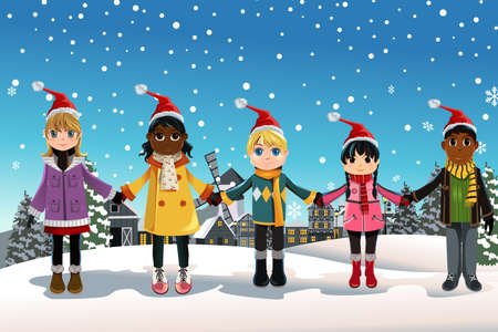 illustration of multi-ethnic children holding hands celebrating Christmas Ilustracja