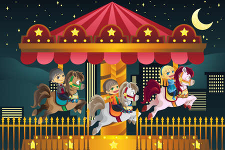 carnival ride: illustration of children playing merry go round in an amusement park