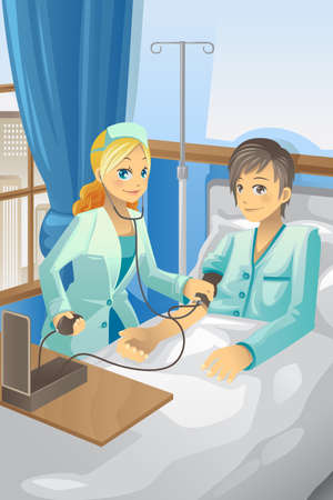 nursing: illustration of a nurse checking the blood pressure of a patient