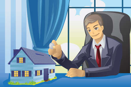 illustration of a businesssman saving money into a house shaped piggy bank