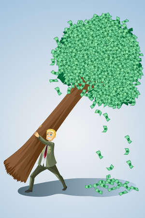 money tree: illustration of a businessman lifting a money tree