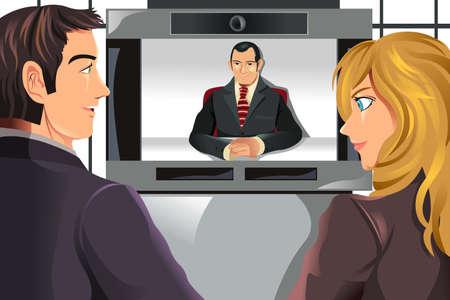 illustratie van de mensen uit het bedrijfsleven videoconferencing Vector Illustratie