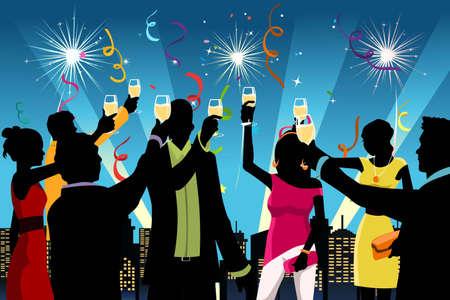 rooftop: illustratie van silhouet van jonge mensen die New Year