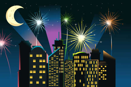 city lights: illustration of fireworks in the city
