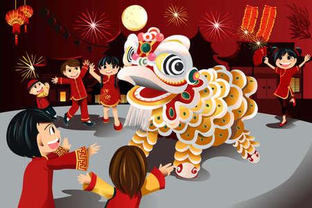 dragon chinois: illustration des enfants célèbrent le Nouvel An chinois
