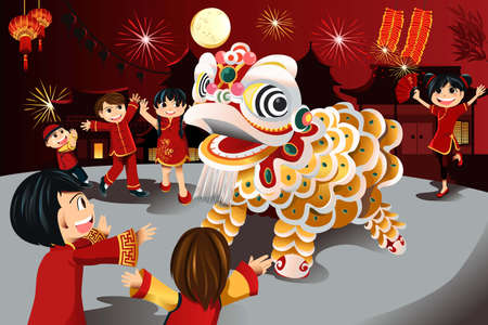 lion dance: illustration of kids celebrating Chinese New Year