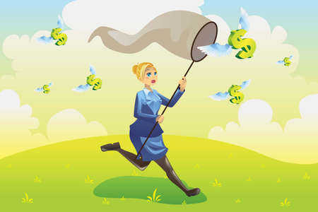 cartoon money: illustration of a business finance concept, a businesswoman running and catching flying dollars