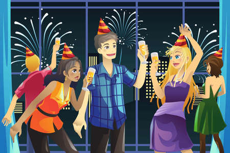 toasting: young people having New Year