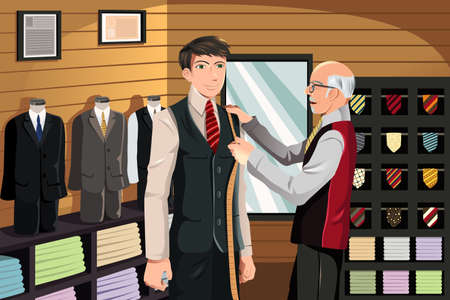 menswear: illustration of a man being measured for a fitted suit by a tailor