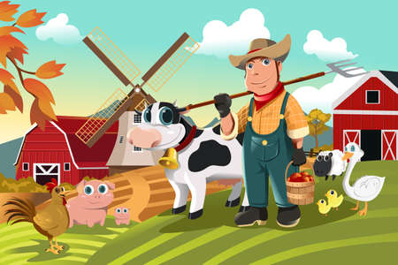 illustration of a farmer at his farm with a bunch of farm animals Stock Illustratie