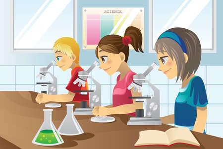 illustratie van kinderen studeren in een science lab