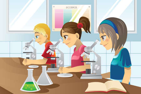 illustration of kids studying in a science lab Ilustração