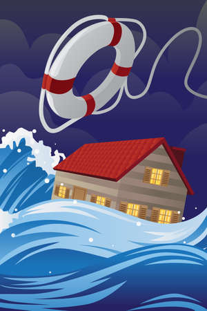 flood: illustration of home insurance concept, a flooded house being saved by a lifesaver Illustration
